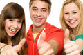 Friends with thumbs up Stock Images