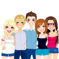 Friends together happily illustration of five young happy shoulder to shoulder Stock Photo