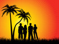 Friends under palm trees Royalty Free Stock Photo
