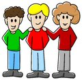 Friends vector illustration of three cartoon Stock Photos