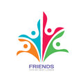 Friends - vector logo template concept illustration. Human character abstract sign. Happy people family symbol. Social media union