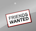 Friends wanted concept illustration depicting a sign with a Royalty Free Stock Photography
