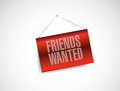 Friends wanted hanging banner sign illustration design over white Royalty Free Stock Photos