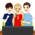 Friends watching game three young sports on television together Stock Photography