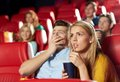 Friends watching horror movie in theater Royalty Free Stock Photo