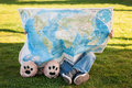 Friendship child and teddy bear looking at world map Royalty Free Stock Images