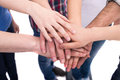 Friendship close up hands of a group of people Royalty Free Stock Photos