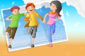Friendship day easy to edit vector illustration of background with friends Royalty Free Stock Images