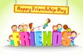 Friendship day vector illustration of kids celebrating Stock Photography
