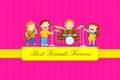 Friendship day vector illustration of kids celebrating Royalty Free Stock Photography