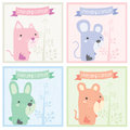 Friendship forever animals greeting card design Royalty Free Stock Photo