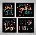Friendship Hand Lettering Phrases Vector Set