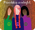 Friendship illustration three young teenagers from different ethnic groups Stock Photo