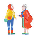 Friendship of old people. Old Girlfriends. Older woman talking on the street. Old women discuss retirement. Senior having fun. Old