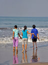 Friendship teenager friends enjoying vacation at sea beach Royalty Free Stock Photo