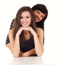 Friendship two best girlfriends hugging each other white background Royalty Free Stock Images