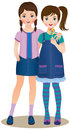 Friendship vector illustration teenage girls Stock Image