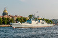 Frigate Admiral Essen on the river Neva in Saint-Petersburg Royalty Free Stock Photo