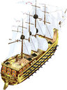 Frigate beautiful fighting sailing to the ship with guns sails and masts Royalty Free Stock Photo