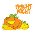 Fright night. Halloween party hand drawn lettering and sketch with cute pumpkins. Fun colorful brush ink typography