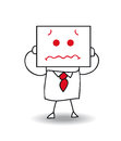 Frightened businessman joe holds a sheet of paper on which is drawn a face he is scared he is anonymous behind this sheet of paper Royalty Free Stock Images