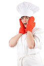 Frightened fat female cook Royalty Free Stock Images
