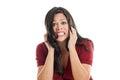 Frightened Hispanic woman portrait isolated on a white background Stock Photo