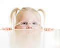 Frightened kid or child in eyeglasses playing isolated on white Royalty Free Stock Photo