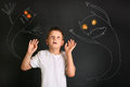 Frightened little boy afraid of night monsters. Royalty Free Stock Photo