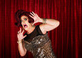 Frightened man in drag queen theater Royalty Free Stock Photos