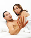 Frightened man and woman caught during sex men women together Royalty Free Stock Photos