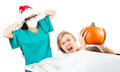 Frightened pathologist in Christmas hat Stock Photos