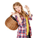 Frightened shopping girl Stock Photography