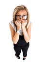 Frightened and stressed young business woman Royalty Free Stock Photo