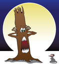 Frightened tree reacts with horror at the sight of a mouse Royalty Free Stock Image