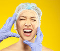 Frightened woman before surgery fear crying anger young Royalty Free Stock Image