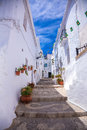 Frigiliana pavement photograph of beautiful in white beautiful village close to nerja south spain Stock Photos