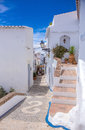 Frigiliana pavement photograph of beautiful in white beautiful village close to nerja south spain Royalty Free Stock Images