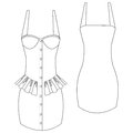 Frilled bustier dress a vector illustration of Stock Images