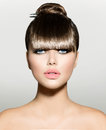 Fringe fashion model girl with trendy hairstyle Royalty Free Stock Photo