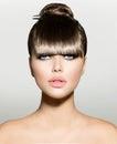 Fringe fashion model girl with trendy hairstyle Royalty Free Stock Photo