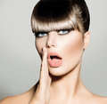 Fringe fashion model girl with trendy hairstyle vogue style Royalty Free Stock Image