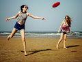 Frisbee Beach Chill Coast Summer Female Girl Concept Royalty Free Stock Photo