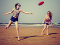 Frisbee Beach Chill Coast Summer Female Girl Royalty Free Stock Photo