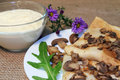 Fritters with mushrooms and sauce sour cream Royalty Free Stock Images