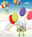 A frog and balloons