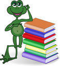 Frog and books Stock Photo
