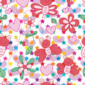 Frog butterfly bug seamless pattern
