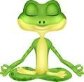 Frog cartoon doing yoga