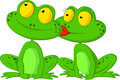 Frog cartoon kissing Royalty Free Stock Photo